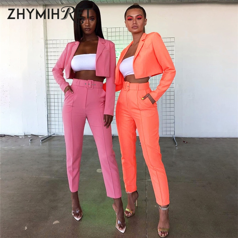 ZHYMIHRET 2019 Autumn New Neon Color Blazer And Pants Women Suits With Belt Short Jacket Office Work OL Women Suits Office Sets