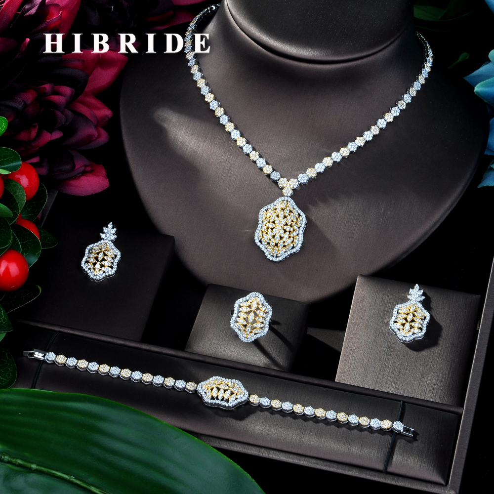 HIBRIDE Latest Fashion Women Wedding AAA Cubic Zirconia Necklace Earring Dubai Jewelry Set Jewellery Addict Bijoux