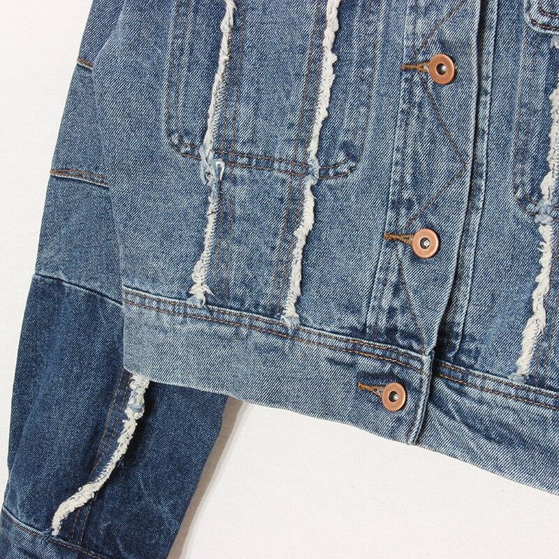 Vintage Femmes Taille Vestes Bleu Patchwork Large Demin Jeans High Manteaux Street Outerwears Courtes Coton fUqxwqTz