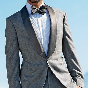 Grey Tweed Shawl Lapel Formal Men Suit Skinny Blazer 2017 Latest Coat Pant Designs Groom Custom Tuxedo 2 Piece suits Vestidos