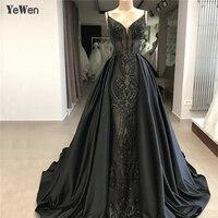 Dubai Design V Neck Black Green Burgundy Evening Dresses 2019 New arrival Lace Evening Gowns vestido largo fiesta noche elegante