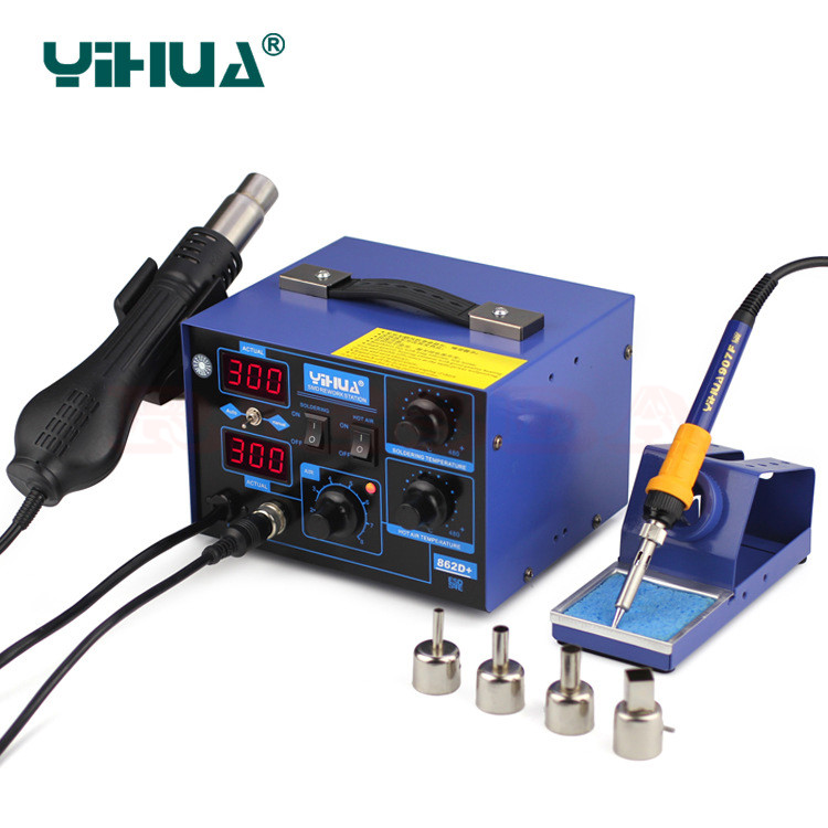 YIHUA 862D+ 750W Constant Temperature Antistatic Soldering Station Solder Iron Heat Air Gun yihua 862d 750w constant temperature antistatic soldering station solder iron heat air gun