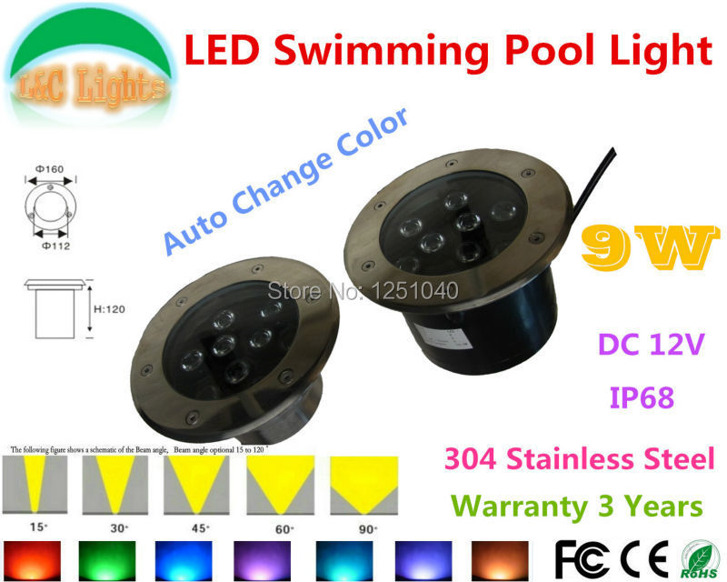 Auto Change Color RGB 9W Outdoor Underwater LED Light 12V Waterproof IP68 Swimming Pool Lights CE RoHS Pond Lamps Fountain Lamp underwater lights rgb led swimming pool light 24v ip68 waterproof 27w 316 stainless steel colorful changeable fountain lamp