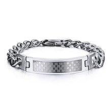 8473bde81569 316l de acero inoxidable pulseras Classic Grid Design encanto joyas de  titanio alta calidad nunca se oxida o se desvanecen