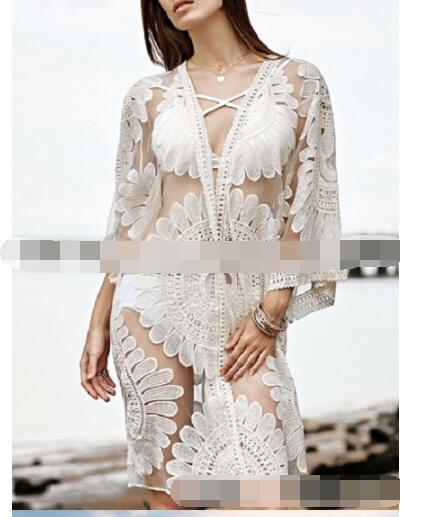 30pcs/lot fedex fast korean style woman lace beach blouse female half solid lace kimono female cardigan lace blouse