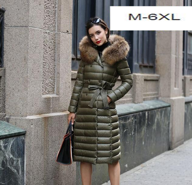 6XL Plus Size mulheres novas de inverno para baixo parkas Jaqueta moda longo Nagymaros gola do casaco com capuz para baixo outwear T776