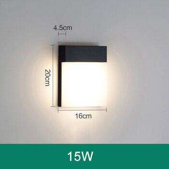 Lámpara De Pared Moderna Impermeable Al Aire Libre De 15W LED IP65 Sensor De Movimiento De Aluminio PIR Luz De Pared De Jardín Porche Sconce 110V 220V ZBW0007