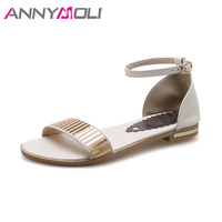 ANNYMOLI Summer Shoes Original Leather Women Sandals 2018 Bling Ankle Strap Casual Shoes Summer Flat Sandals
