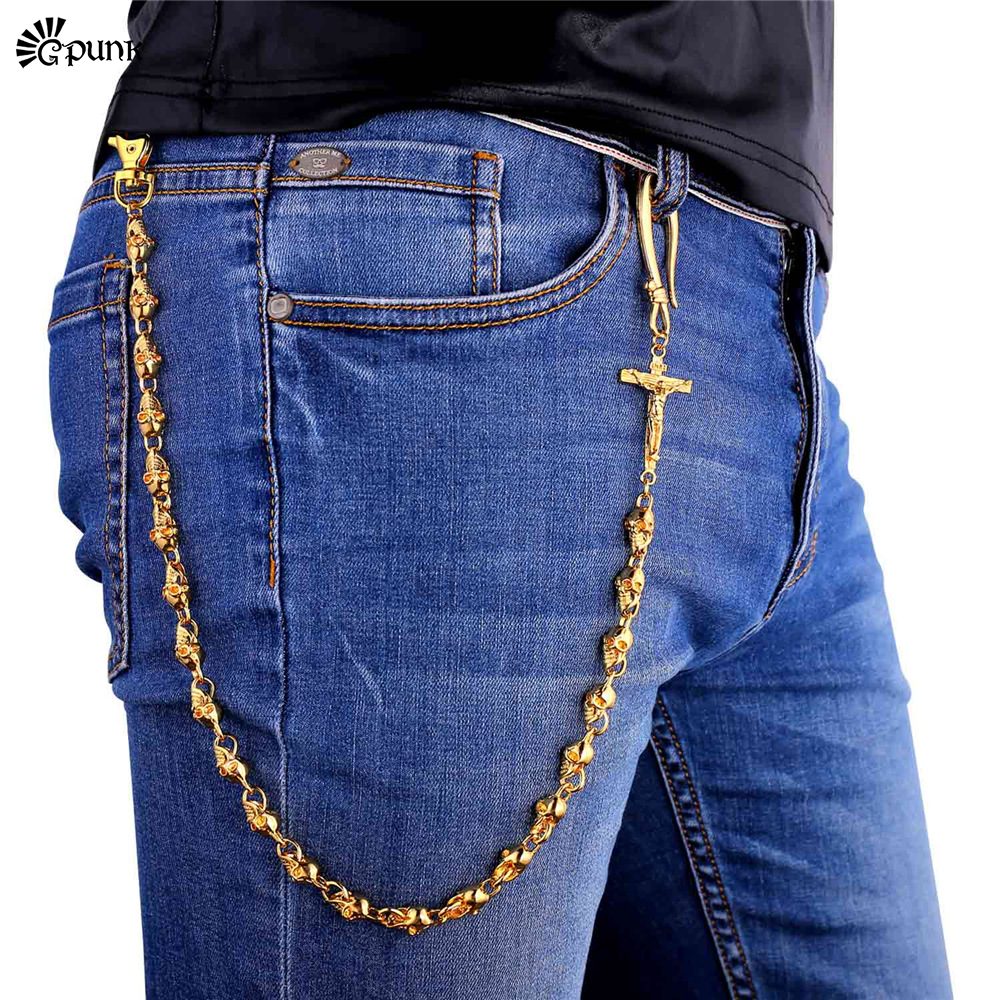 Mens Jean chains Punk Belt cross Skeleton Waist Chain Gold color accessories Black chain Wholesale Jewelry BC5G