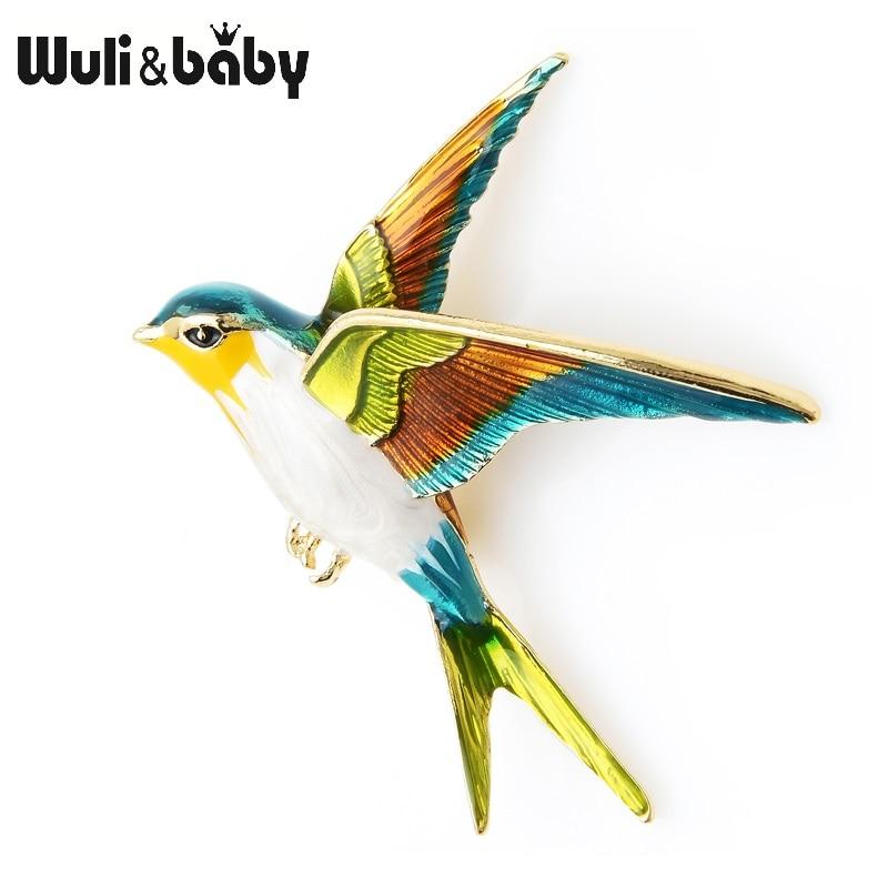 Wuli&Baby Enamel Flying Swallow Brooch Pins For Women Animal Bird Broche Jewelry Gift