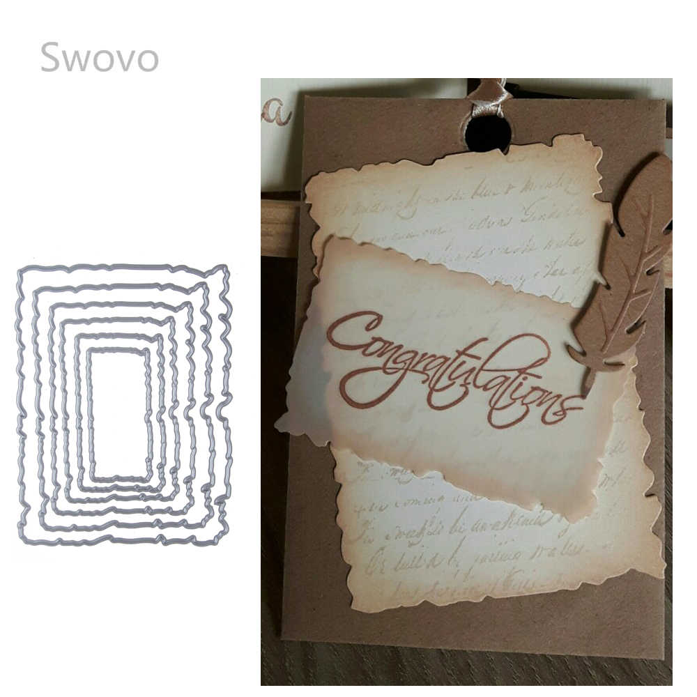 Swovo 6pcs Vintage Torn Rectangle Frame Stitched Metal Cutting Dies DIY Scrapbooking Stamps Craft Cards Embossing Making Stencil