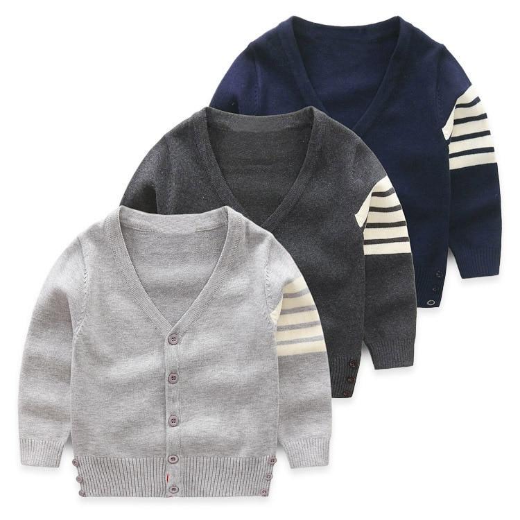 2018 Frühling Baby Strickjacke Jungen Pullover Wolle Gestreiften Mantel Jacke Baby-kleidung Baby Mantel V-ausschnitt Strickjacken SorgfäLtig AusgewäHlte Materialien