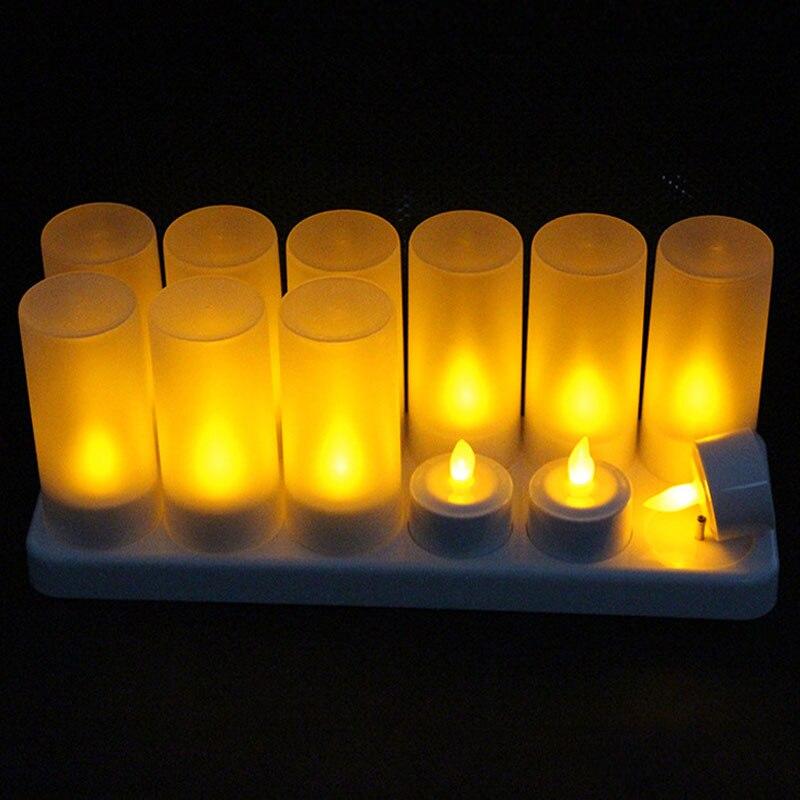 Rechargeable bougies LED sans flamme 12 pièces Flamme Jaune L'énergie Sûre LED Bougies chauffe-plat Avec Base de Charge Bougies De Noël Halloween