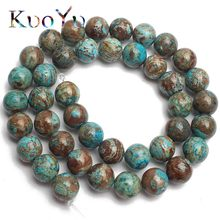 "Natural Blue Crazy Lace Agata Onyx Stone Beads Round Loose Bead For Jewelry Making 4/6/8/10/12mm DIY Bracelet Necklace 15""Strand(China)"