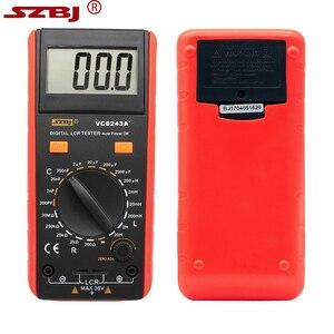 Image 3 - SZBJ medidor LCD Digital VC6243A, probador de resistencia de capacitancia, multímetro, pinza de cocodrilo, herramienta de medición con bolsa BM4070