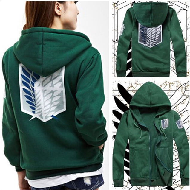 2 Colors Anime Attack on Titan Unisex Cosplay Costume Green Black Hoodie Scouting Legion Hooded Jacket