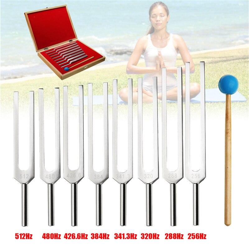 8Pcs Set Aluminum Medical Tuning Fork Healing Sound Vibration Therapy 256Hz 288Hz 320Hz 341Hz 384Hz 426Hz