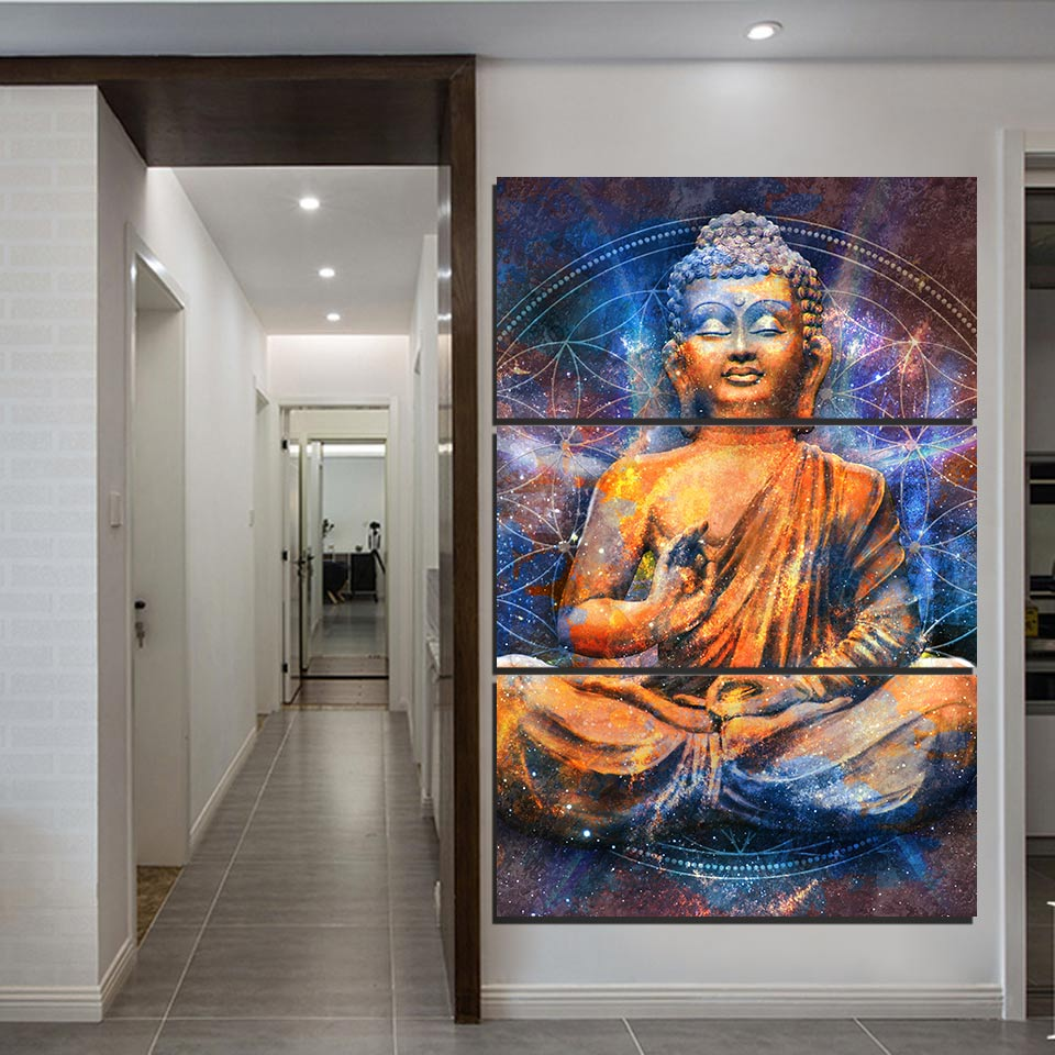HD Frame Top-Rated Canvas Print Art Painting 3 Piece Abstract Medit Buddha Home Decoration Modular Wall Picture For Living Room