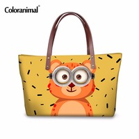 Coloranimal Women Large Handbag Cute Cartoon Animal Elephant Bear Tiger Casual Tote Bag for Ladies Female Travel Shoulder Bags