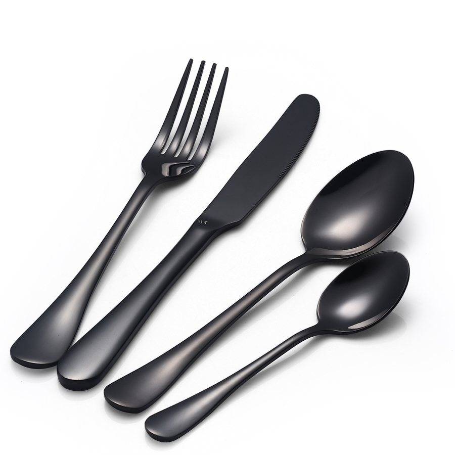 24 pcs lot black cutlery set 18 8 stainless steel top quality metal knifes fork teaspoon. Black Bedroom Furniture Sets. Home Design Ideas