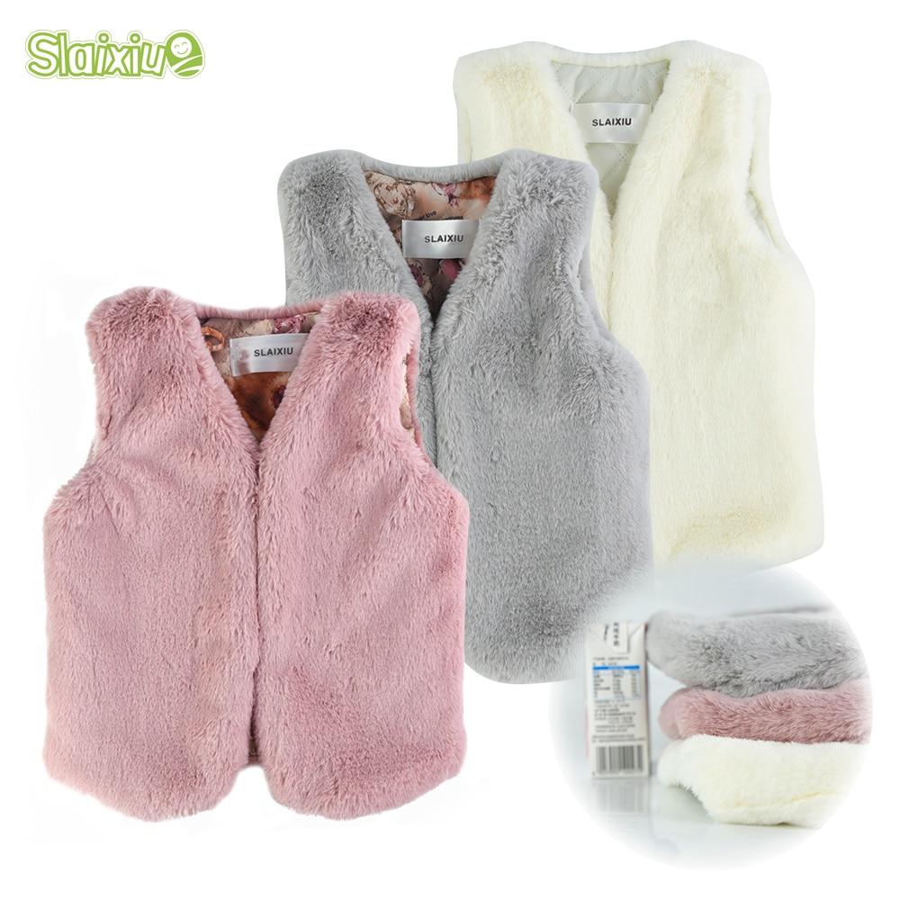 SLAIXIU Baby Vests Waistcoats Faux Fur Coat Girls Vest Waistcoats Kids Sleeveless colete Jacket Outerwear Children's Clothing