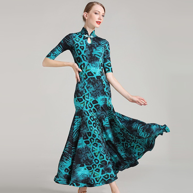 Chiese Style Cheongsam Blue Red Leopard Ballroom Skirts Woman Competition Standard Dance Dresses Flamenco Waltz Dance Dress