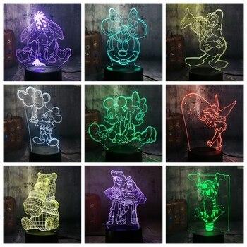 Neuheit Nette Mickey Minnie Maus Winnie Fee Tinker Glocke Eeyore Donald  Ente Buzz 3D LED Lampe Nacht Licht Decor Kid Weihnachten geschenk Spielzeug