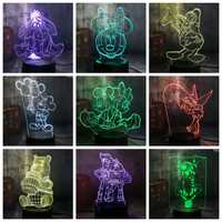 Novelty Cute Mickey Minnie Mouse Winnie Tinker Bell Eeyore Donald Duck Buzz 3D LED Lamp Night Light Decor Kid Christmas Gift Toy