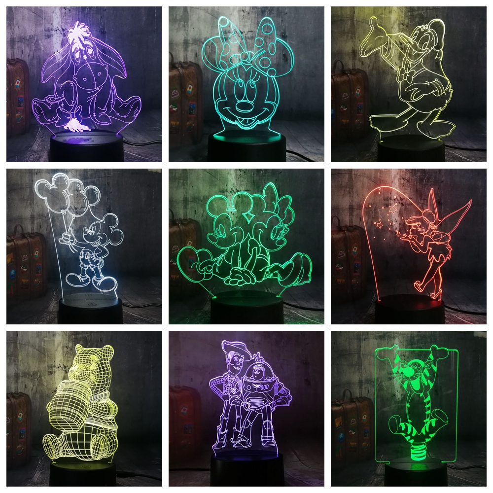 Novelty Cute Mickey Minnie Mouse Winnie Tinker Bell Eeyore Donald Duck Buzz 3D LED Lamp Night Light Decor Kid Christmas Gift Toy