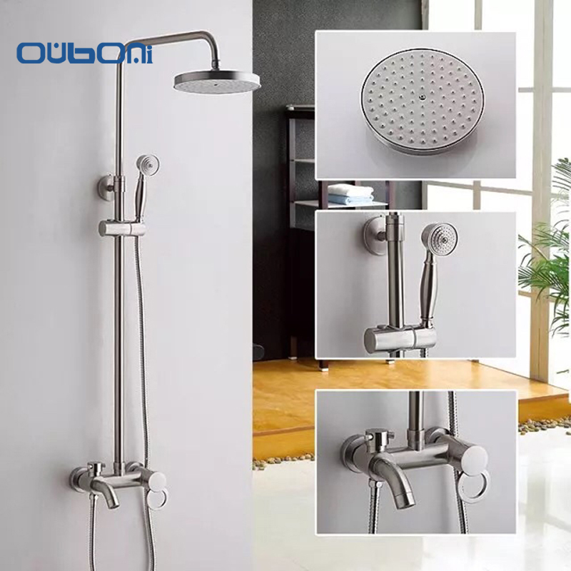 OUBONI New Modern Wall Mount Shower Faucet Mixer Tap With Rain Shower Head & Handheld Spray Nickle Brushed Bathroom Shower Set sognare new wall mounted bathroom bath shower faucet with handheld shower head chrome finish shower faucet set mixer tap d5205
