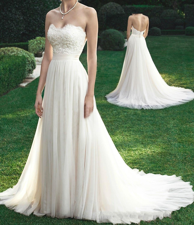 Robe de mariée Sexy Boho longue dos nu blanc plage robe de mariée Appliques dentelle chérie princesse robe de mariée livraison gratuite