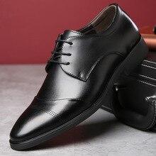 Большие размеры 37-47 кожаные мужские туфли оксфорды Бизнес обувь с острым носком сплошной Кружева на шнуровке черные дышащие платье Мужская деловая обувь Y318