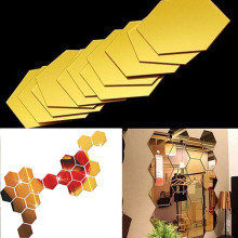 12Pcs 3D Hexagon Acrylic Mirror Wall Stickers DIY Art Wall Decor Stickers Home Decor Living Room Mirrored Sticker Gold didriksons1913 варежки glove didriksons1913