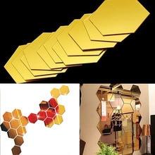 12Pcs 3D Hexagon Acrylic Mirror Wall Stickers DIY Art Wall Decor Stickers Home Decor Living Room Mirrored Sticker Gold grammar goals pupil s book level 1 cd rom