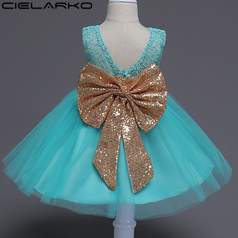 Cielarko Little Girl Party Dress Christening Lace Baby Dresses Big Bow Birthay Girls Flo ...