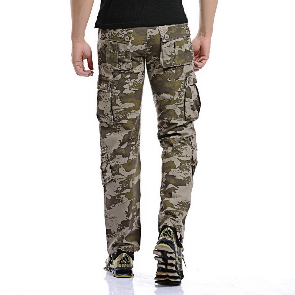 2019 Men Loose Multi-Pocket Camouflage Pants Men's Casual Cotton Straight Big Yards Long Frock Multi Zipper Male Washed Trousers