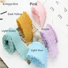 Kewgarden 40mm 1-1/2 Lace Elasticity Knitting Grid Ribbons Handmade Hair band Satin Ribbon DIY Tape Riband 5yards /lot