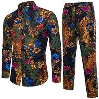 FDWERYNH 2018 Men's Shirts Suit Linen Cotton Single Breasted Flower Print Casual Shirt+Pants Big Size