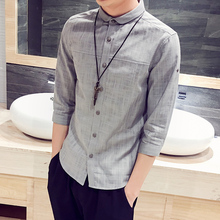 2018 Summer New Fashion Men s Casual Pure Color Flax Shirt Large size Summer Men s