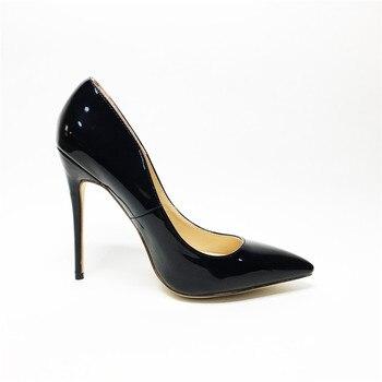 Sexy kobiety buty na cienkich wysokich obcasach patent kobiet pompy szpilki
