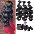 8A Grade Malaysian Body Wave With Closure 3 Bundles With Lace Closures Top Unprocessed Virgin Hair Maylasian Hair With Closure