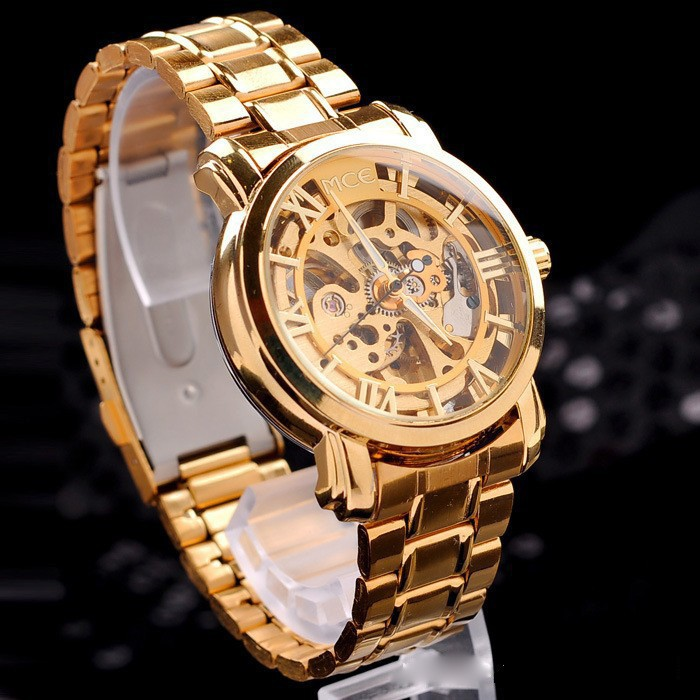 New 2015 Hot Hollow Gold Watch Self wind Automatic Watch Famous MCE Relogios Stainless Steel Band