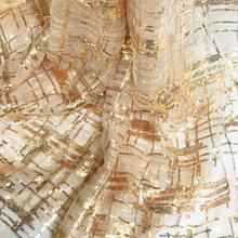 Fashion Transparent crystal Gold glitter plaid striped lace fabric dress diy textiles wedding cloth mesh C584
