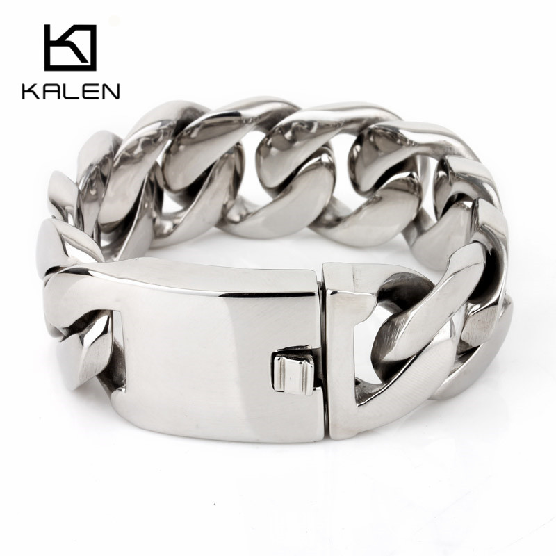 все цены на Moldova Fashion Jewelry Stainless Steel Shiny Bracelet Heavy Chunky Men's Bracelets Exquisite Birthday Gift For Boyfriend онлайн