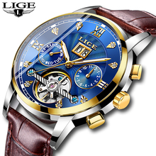 LIGE Mens Mechanical Watch Stainless Steel Waterproof Diamond Business Wristwatch Relogio Masculino