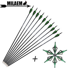 6/12pcs Archery Carbon Arrow With 100Gr Blade Arrowhead Spine 500 30inch ID6.2mm OD7.8mm Compound Recurve Shooting Accessories