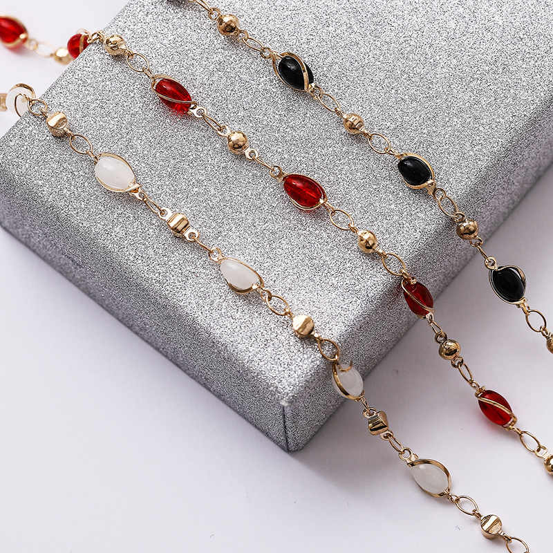 6mm White Red Black Beads Chains Handmade Jewelry Copper Women Necklace Chain For DIY Women Jewelry 5m/roll Wholesale