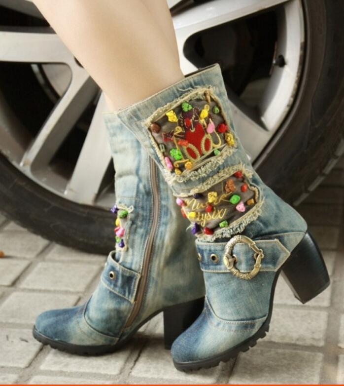KNCOKAR/2018 г. Новая парусиновая обувь высокие сапоги на высоком каблуке с боковой молнией джинсовые Ботинки martin на толстой подошве с нескользящ... - 4