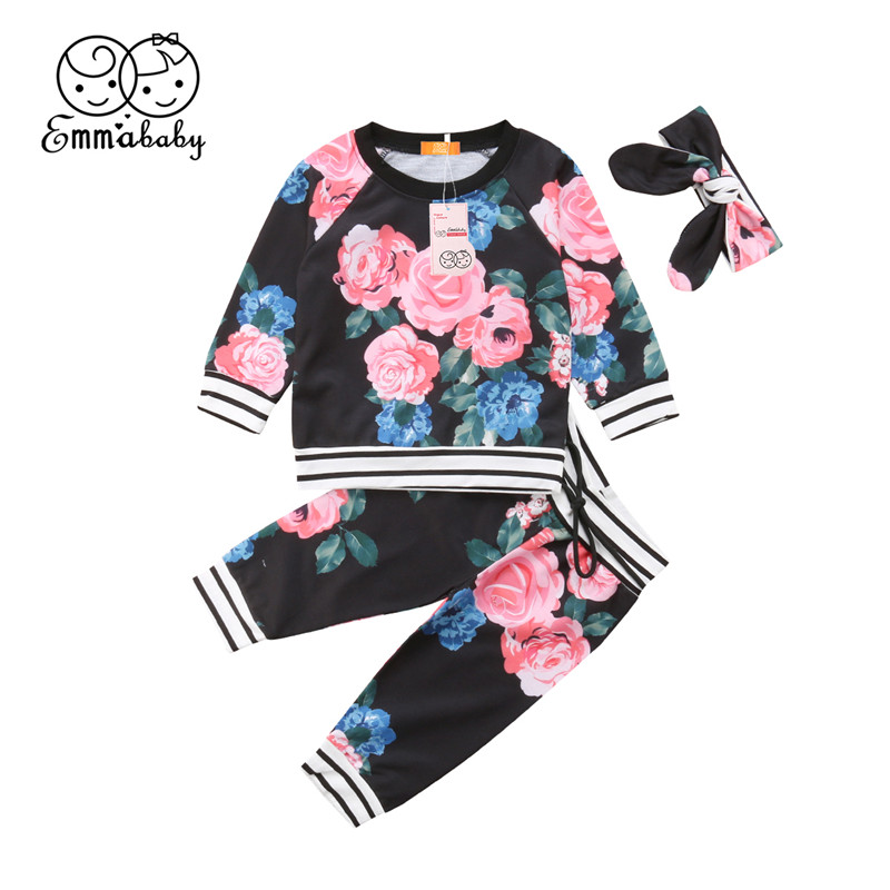 Clothing Sets Mother & Kids Floral Pants 2pcs Infant Suit Sets Sportswear Sy268 2018 Autumn Winter Newborn Baby Girls Clothes Casual Hooded Tops