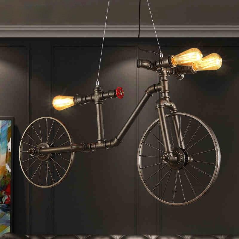 Bike Lamp Vintage Hanging <font><b>Light</b></font> Nordic Bicycle Pendant <font><b>Lights</b></font> Fixture Retro Dining Room Restaurant Cafes Pub Droplight Lighting